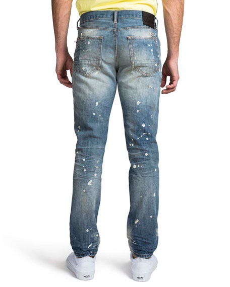 Image 2 of 2: PRPS Men's Le Sabre Ripped & Bleached Straight-Leg Jeans