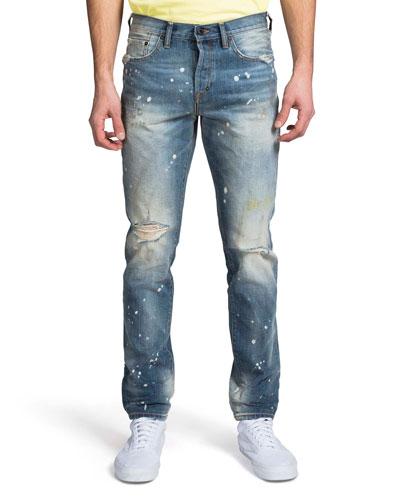 Men's Le Sabre Ripped & Bleached Straight-Leg Jeans