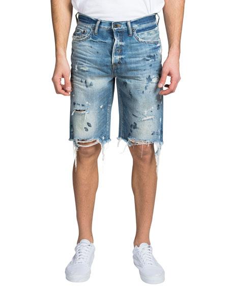 PRPS Men's Destroyed Paint-Spot Shorts