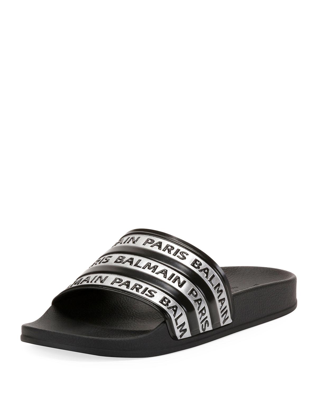 3cbf1f2b Balmain Men's Calypso Logo-Printed Slide Sandals | Neiman Marcus