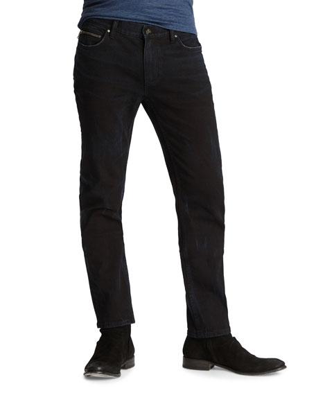 John Varvatos Men's Chelsea-Fit Washed-Denim Jeans with Ticket Pocket