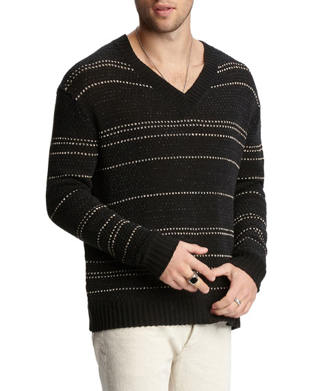 John Varvatos Men's Jacquard-Stripe Easy-Fit V-Neck Sweater