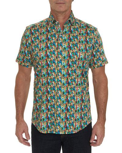 Men's Bottle Service Short-Sleeve Sport Shirt