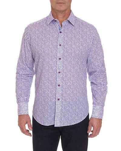 Men's Pemba Grid-Pattern Sport Shirt