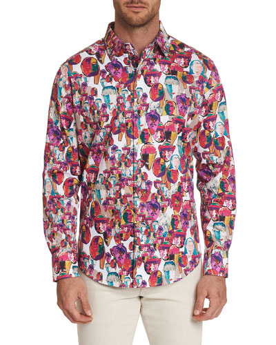 Men's Many Faces Graphic Sport Shirt