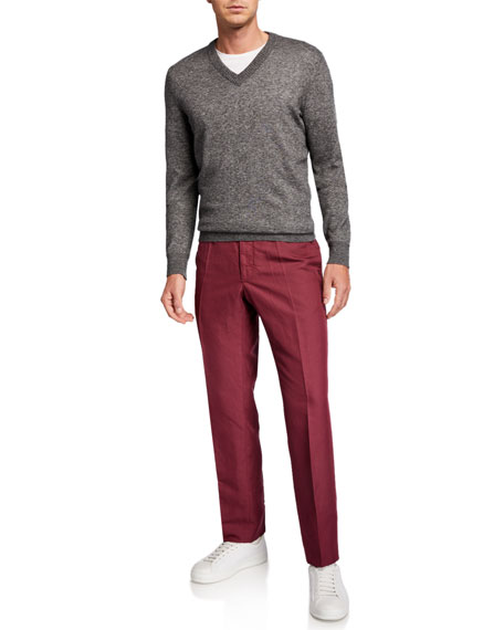 Image 3 of 3: Incotex Men's Linen-Blend Chino Pants