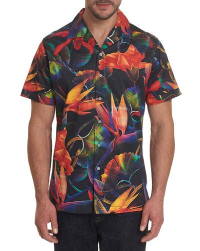 Men's Arora Graphic Floral Short-Sleeve Sport Shirt
