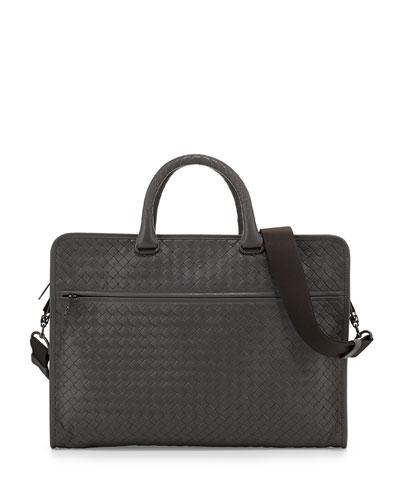 Soft Slim Woven Briefcase  Light Gray