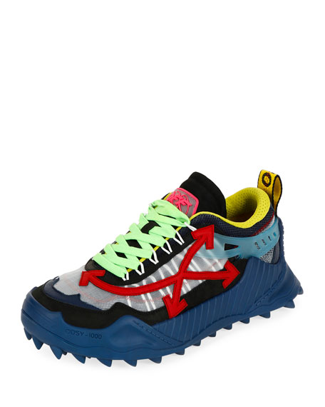 Off-White Men's Odsy-1000 Arrow Colorblock Sneakers, Blue/Red