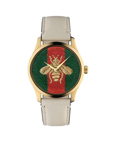 Men's 38mm Signature Bee Watch w/ Leather Strap