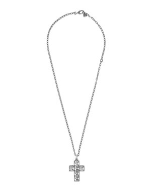 c61fae574 Gucci Men's Sterling Silver Cross Necklace w/ Synthetic Stones