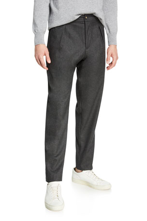 Marco Pescarolo Men's Pleated Stretch-Cashmere Trousers, Gray