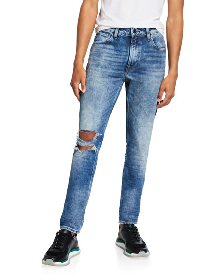 Hudson Men's Zack Distressed Knee-Rip Skinny Jeans