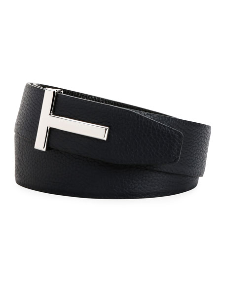 TOM FORD Men's Signature T Leather Belt