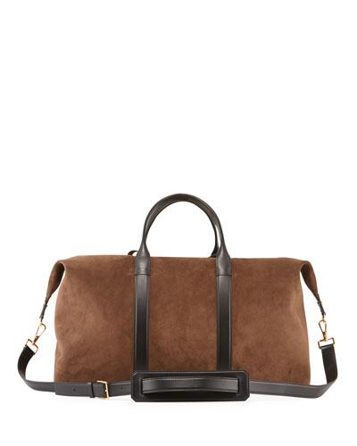 Men's Suede Duffel Weekender Bag