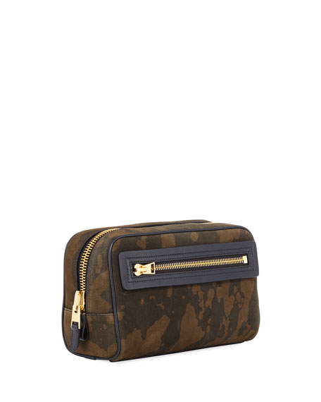 TOM FORD Men's Camo Suede Travel Toiletry Case