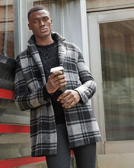 John Varvatos Star USA Men's Boulder Leopard-Jacquard Crewneck Sweater