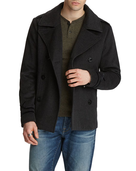 John Varvatos Star USA Men's Amos Velvet-Trim Wool Pea Coat