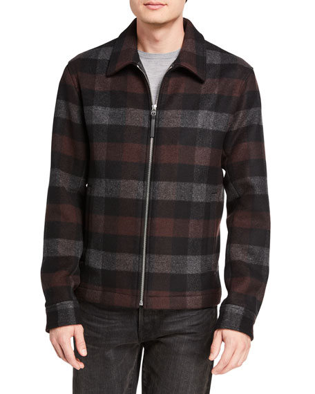 Image 2 of 3: Theory Men's Wyatt Mosaic Plaid Zip-Front Coat