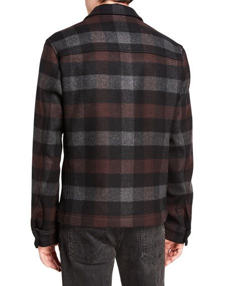 Image 3 of 3: Theory Men's Wyatt Mosaic Plaid Zip-Front Coat