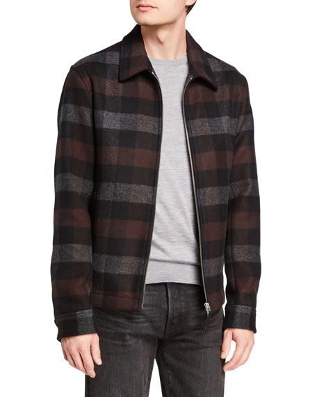 Image 1 of 3: Theory Men's Wyatt Mosaic Plaid Zip-Front Coat