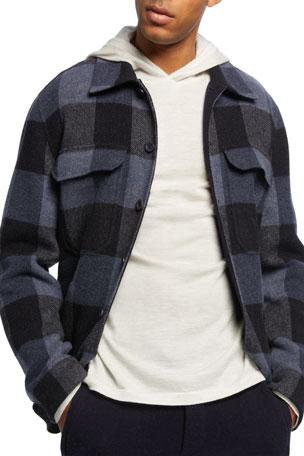 Vince Men's Buffalo Plaid Wool Overshirt