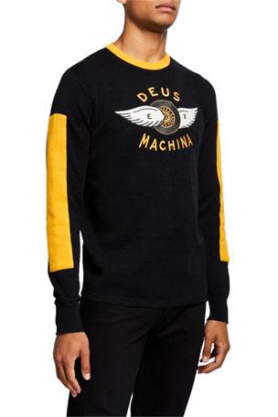 Deus Ex Machina Men's Bardem Paneled Knit Moto Sweater with Logo Applique
