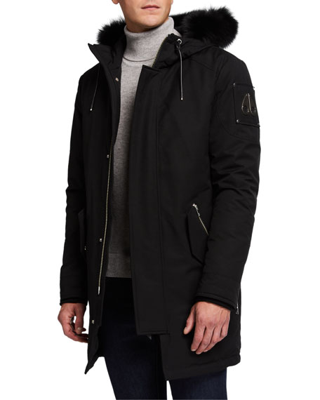 Moose Knuckles Men's Oakbank Parka Coat with Fur Trim