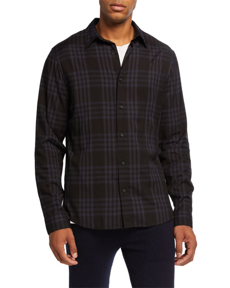 Image 1 of 2: Vince Men's Two-Toned Plaid Sport Shirt
