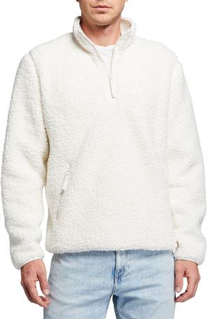 Vince Men's Faux-Sherpa Mock-Neck Pullover Sweater