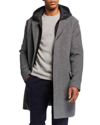 Men's Topcoat with Removable Hood