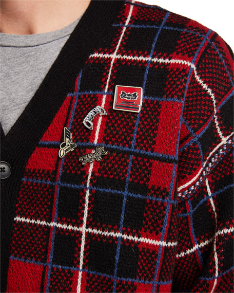 Ovadia & Sons Men's Plaid Button-Up Cardigan Sweater