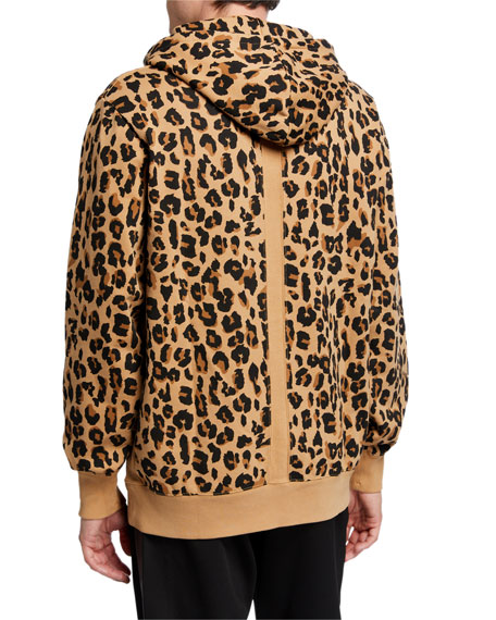 Image 2 of 2: Ovadia Men's Snow-Wash Leopard-Print Pullover Hoodie