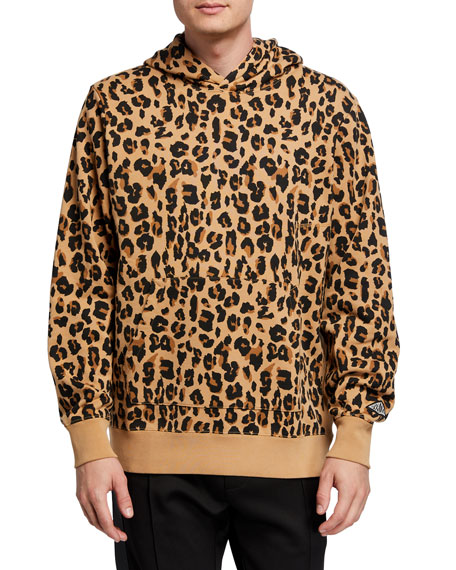 Image 1 of 2: Ovadia Men's Snow-Wash Leopard-Print Pullover Hoodie