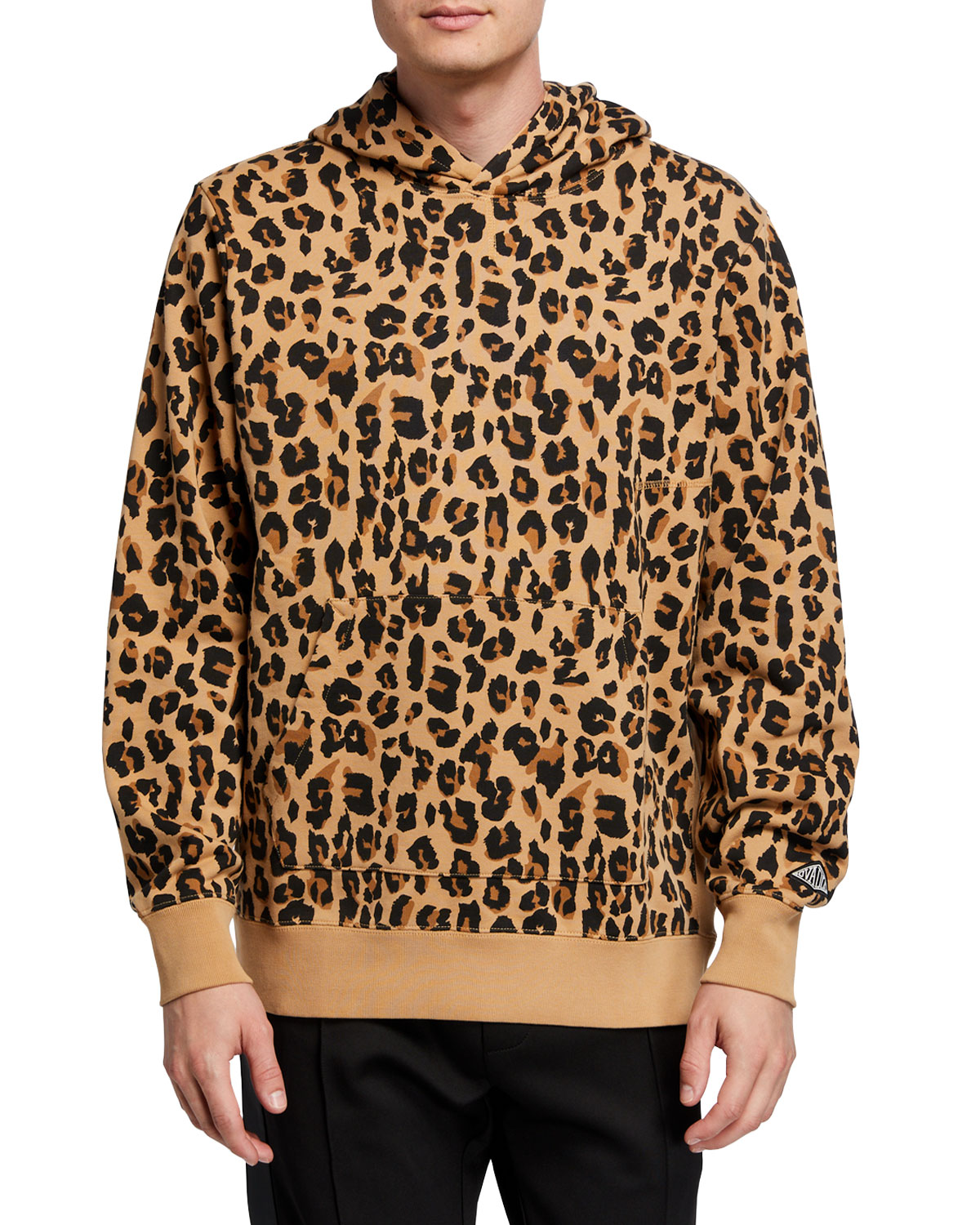 Ovadia Men's Snow-Wash Leopard-Print Pullover Hoodie