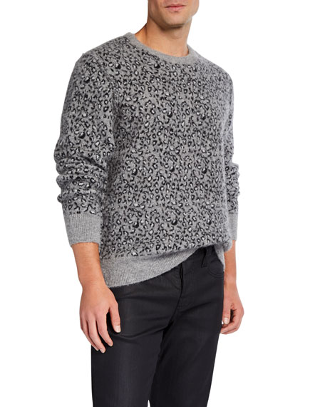 Ovadia & Sons Men's Leopard-Print Crewneck Sweater