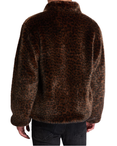 Ovadia Men's Leopard Faux-Fur Coat