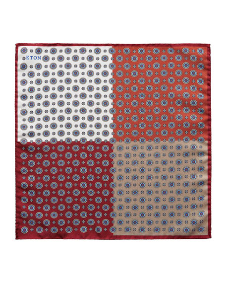 Eton Men's 4-in-1 Medallion Pattern Pocket Square