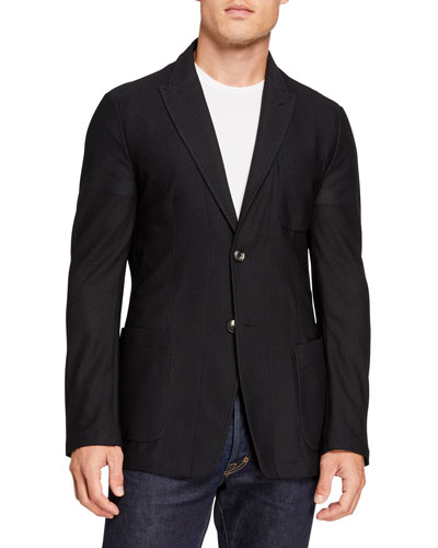 Men's Peak-Lapel Mesh Two-Button Jacket