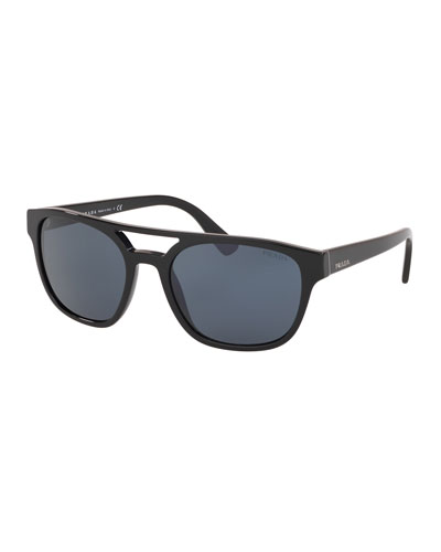 Men's Square Acetate Double-Bridge Sunglasses