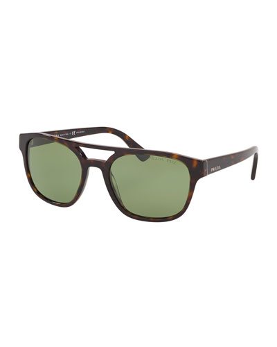 Men's Patterned Acetate Double-Bridge Sunglasses