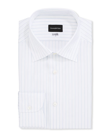 Ermenegildo Zegna Dresses Men's Striped 100Fili Cotton Dress Shirt