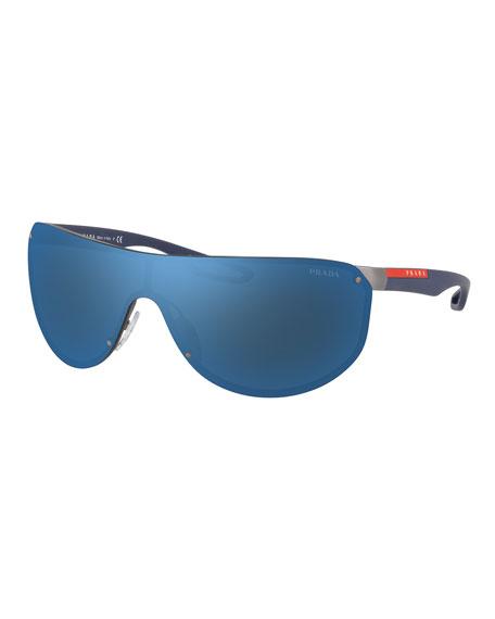 Prada Men's Mirror-Lens Metal Shield Sunglasses
