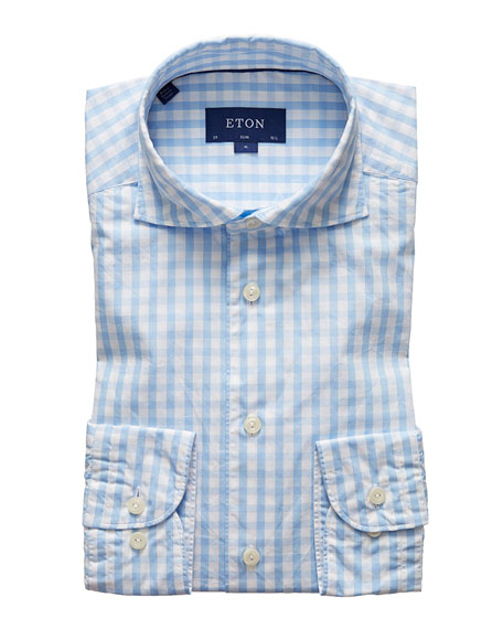 Eton Men's Contemporary-Fit Gingham Dress Shirt