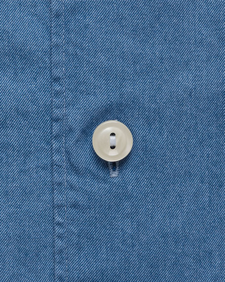 Eton Men's Contemporary-Fit Soft Lightweight Denim Dress Shirt