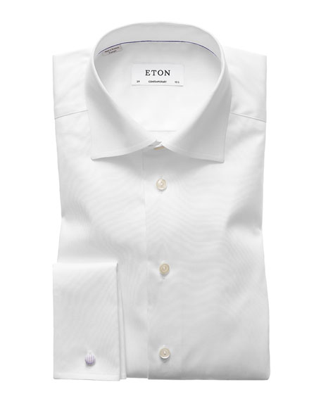 Eton Men's Contemporary-Fit French-Cuff Twill Dress Shirt