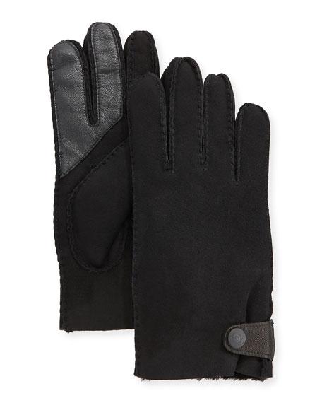 UGG Men's Side-Tab Shearling-Lined Gloves