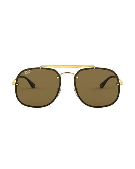 Ray-Ban Men's 58mm Square Metal Brow-Bar Sunglasses