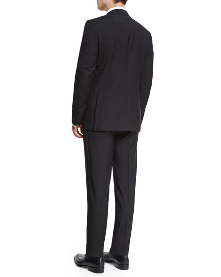 Ermenegildo Zegna Satin Notch-Lapel Wool Tuxedo, Black