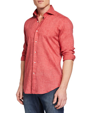 afa5757fd Peter Millar Men's Long-Sleeve Summertime Linen Sport Shirt